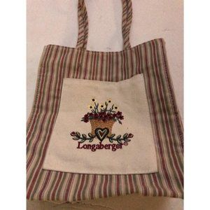 Longaberger Canvas Bag Heart design embroidered